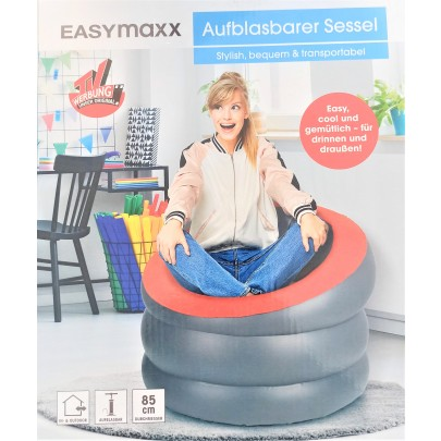 EASYmaxx Sessel zum Aufblasen - In- & Outdoor - anthrazit/rot Sitz Couch
