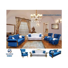 Möbel Set Garnitur Blau Weiß 3+2+1+1 Couch Set