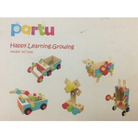 Partu Spielzeug 50tlg Happy Learning Growing Holzspielzeug Holz Baukasten